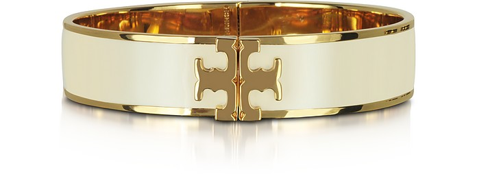 RAISED LOGO NEW IVORY ENAMEL THIN CUFF BRACELET