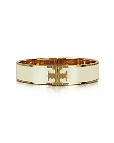 Raised Logo New Ivory Enamel Thin Cuff Bracelet - Tory Burch