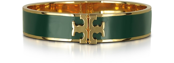 RAISED LOGO BANYAN GREEN ENAMEL THIN CUFF BRACELET
