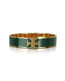 Raised Logo Banyan Green Enamel Thin Cuff Bracelet - Tory Burch