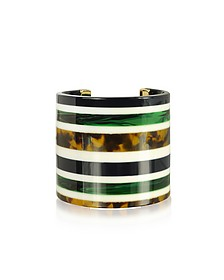 Malachite and Tory Navy Multi Resin Statement Cuff Bracelet - Tory Burch