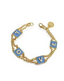 Sunny Blue/New Ivory Enamel and Vintage Gold Brass Message Chain Bracelet - Tory Burch