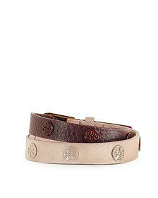 Clay Pink/Port Color-Block Double Wrap Logo Stud Bracelet - Tory Burch