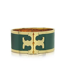 Tory Gold Brass and Banyan Green Enamel Raised Logo Wide Cuff Bracelet - Tory Burch