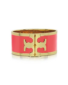 Tory Gold Brass and Red Volcano Enamel Raised Logo Wide Cuff Bracelet - Tory Burch