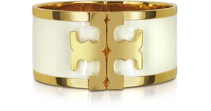 Brass and New Ivory Enamel Raised Logo Wide Cuff Bracelet - Tory Burch