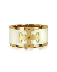 Brass and New Ivory Enamel Raised Logo Wide Cuff Bracelet - Tory Burch