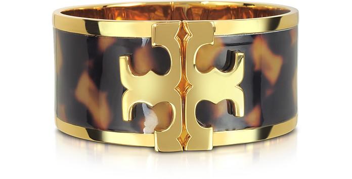 Brass and Tortoise Raised Logo Wide Cuff Bracelet - Tory Burch