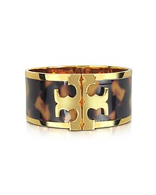 Brass and Tortoise Raised Logo Wide Cuff Bracelet - Tory Burch