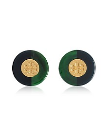 Resin Color-Block Stud Earrings w/Goldtone Logo - Tory Burch