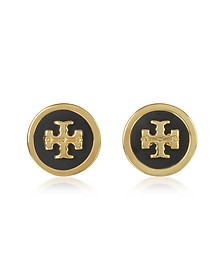 Lacquered Raised Logo Stud Earrings - Tory Burch