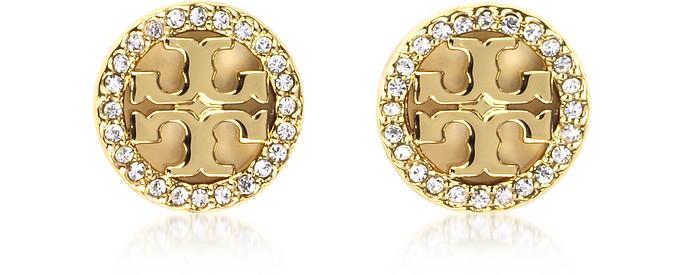c28080e69 Tory Burch Gold Crystal Logo Circle-Stud Earrings at FORZIERI
