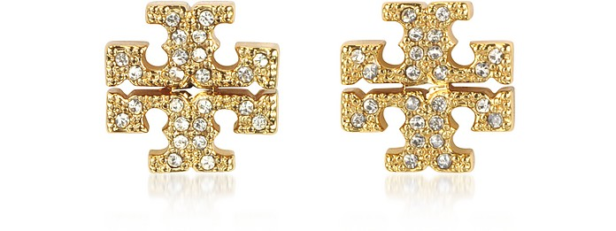 Crystal Logo Cross-Stud Earrings - Tory Burch