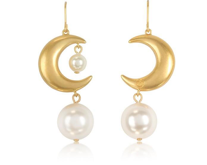 Rolled Brass Celestial Pearl Earrings - Tory Burch