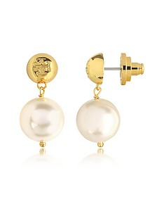 Ivory Crystal Pearl and Tory Gold Brass Drop Earrings - Tory Burch