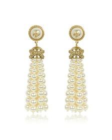 Tory Gold Brass and Resin Beaded Tassel Drop Earrings - Tory Burch
