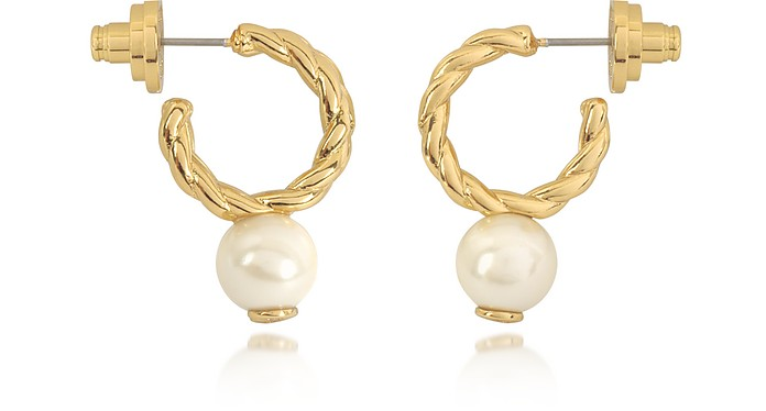 Tory Burch Ivory and Tory Gold Small Rope Pearl Hoop Earrings at