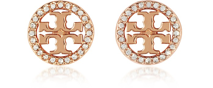 Crystal Logo Circle-Stud Earrings - Tory Burch