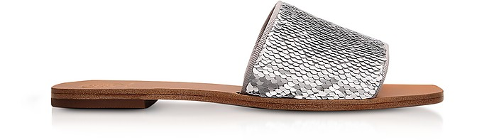 Carter Silver and White Glitter & Leather Slides - Tory Burch