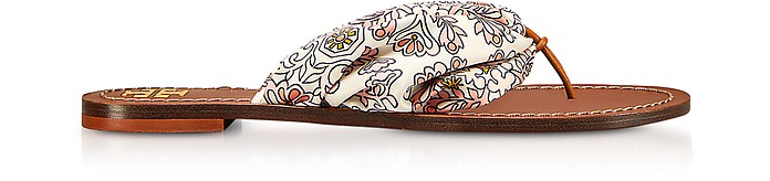 Carson Printed Satin Flat Sandals - Tory Burch