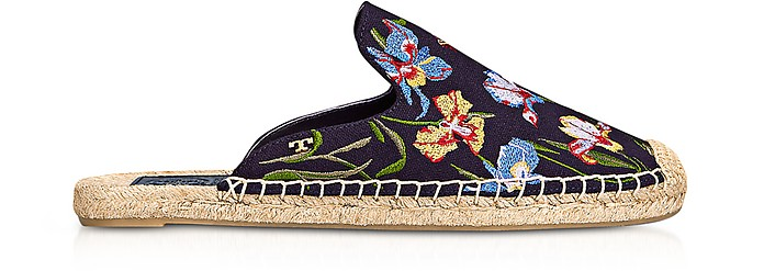 Max Mules in Canvas Ricamato a Fiori - Tory Burch
