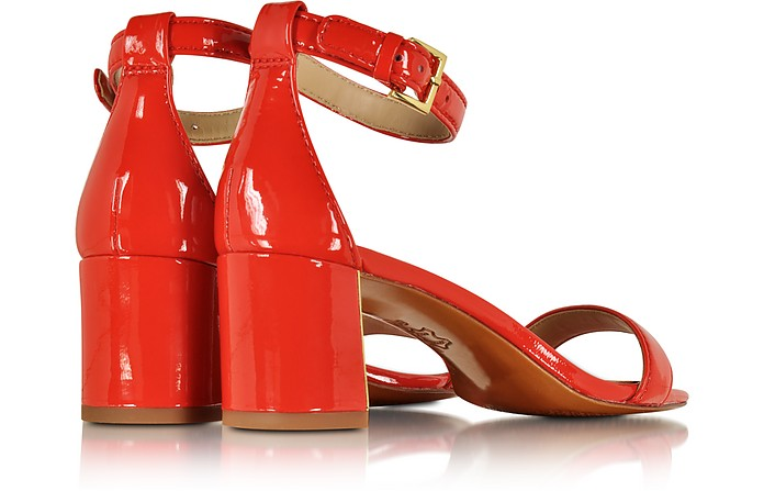 a0d26b7f207 Tory Burch Cecile Pepper Red Leather Mid Heel Sandal