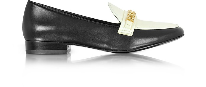 Gemini Link Black Leather and Bleach Patent Leather Loafer Shoe - Tory Burch
