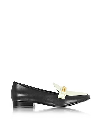 2cd3de306 Gemini Link Black Leather and Bleach Patent Leather Loafer Shoe - Tory Burch