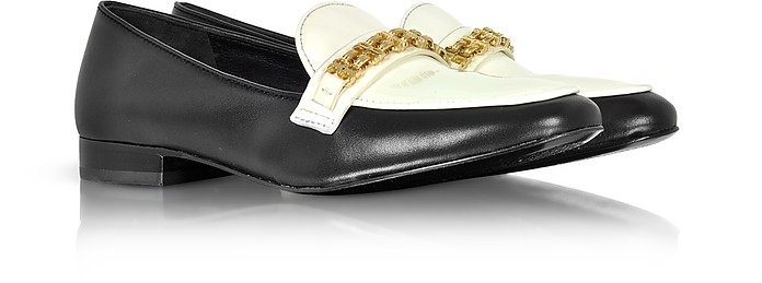17f321a1fc920d Gemini Link Black Leather and Bleach Patent Leather Loafer Shoe - Tory  Burch. 60% Off
