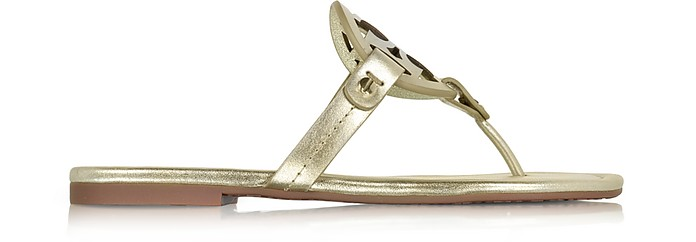 Miller Spark Gold Metallic Leather Flat Sandal - Tory Burch