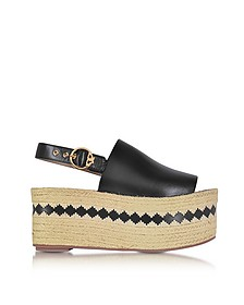Dandy Black Veg Leather Wedge Espadrille Sandal  - Tory Burch