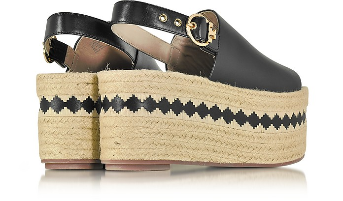 9e833f6dbe45e Dandy Black Veg Leather Wedge Espadrille Sandal - Tory Burch.  175.00   350.00 Actual transaction amount