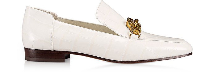 Jessa White Croco Embossed Leather Loafers w/Goldtone Horse Hardware - Tory Burch