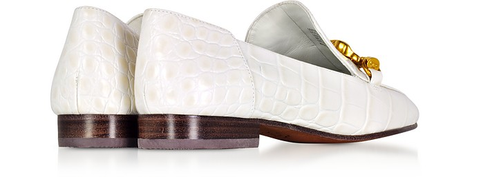 4f13718d96a Jessa White Croco Embossed Leather Loafers w Goldtone Horse Hardware - Tory  Burch. Sold Out
