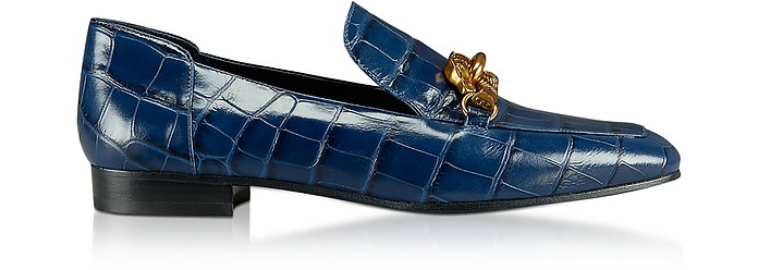 Jessa Royal Navy Croco Embossed Leather Loafers w/Goldtone Horse Hardware - Tory Burch