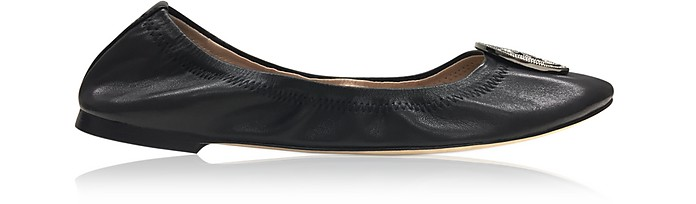 Liana Black Leather Ballet Flats - Tory Burch