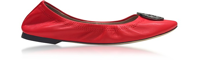 Liana Exotic Red Leather Ballet Flats - Tory Burch