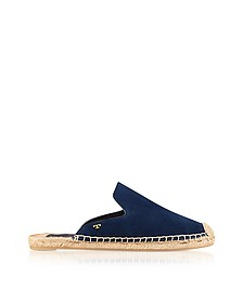 Max Royal Navy Suede Flat Slide Espadrilles - Tory Burch