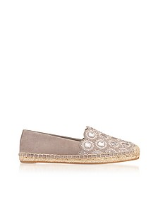 Yasmin Dust Storm Suede Embellished Flat Espadrilles - Tory Burch