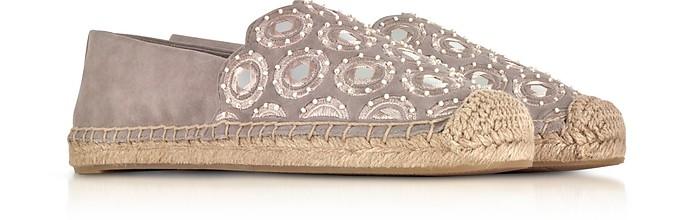 Tory Burch Yasmin Dust Storm Suede Embellished Flat Espadrilles Cheap Fashionable Recommend Sale Online 1pXjrzudW
