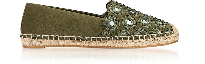 Yasmin Olive Green Suede Embellished Flat Espadrilles - Tory Burch