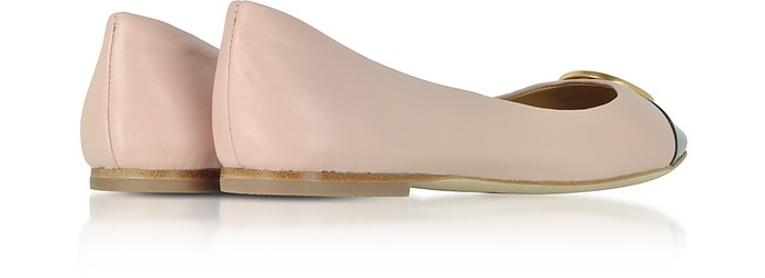 67a6ca48feef Seashell Pink Nappa   Perfect Navy Patent Leather Chelsea Cap-Toe Ballet  Flats - Tory. Sold Out
