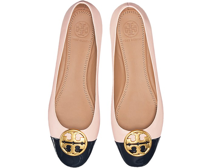 5bd712745c5 Seashell Pink Nappa   Perfect Navy Patent Leather Chelsea Cap-Toe Ballet  Flats - Tory