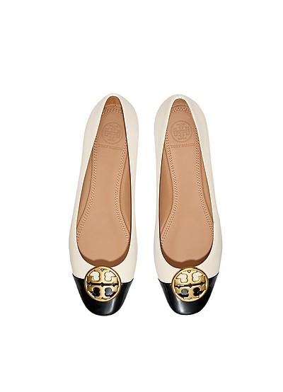 New Cream/Perfet Black Chelsea Cap-Toe Ballet Flat - Tory Burch