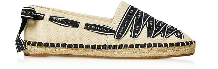 Signature Grosgrain Cream and Black Espadrillas - Tory Burch