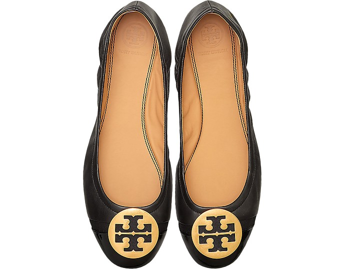 Minnie Perfect Black Leather Ballerinas - Tory Burch