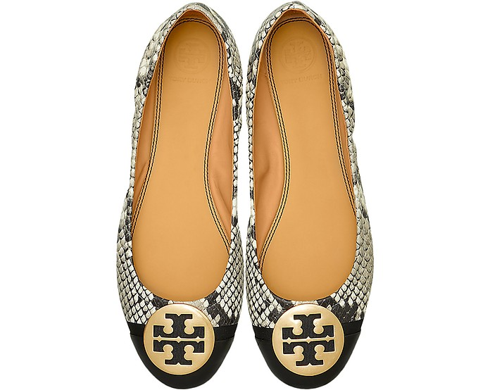 Roccia Snake Printed Leather Minnie Cap-Toe Ballerinas - Tory Burch