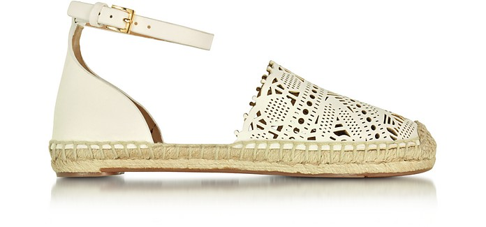 Roselle Ivory Nappa Flat Espadrille - Tory Burch