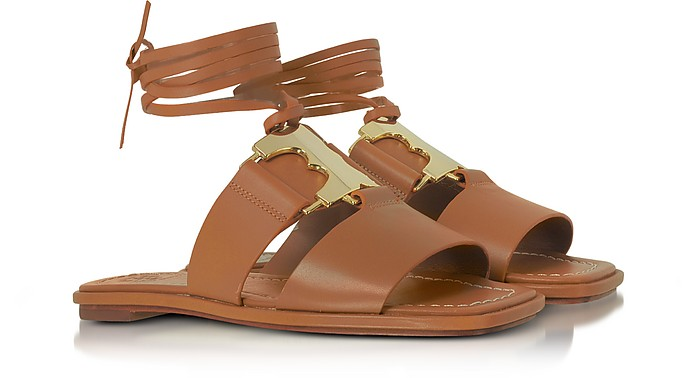 6482f5712bfa Gemini Link Royal Tan Nappa Leather Lace Up Flat Sandals - Tory Burch.   132.00  330.00 Actual transaction amount