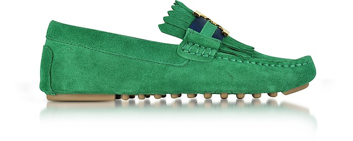 f8774948e2d60 Tory Burch Gemini Link Emerald Stone Suede Driver Shoes 6 US at FORZIERI